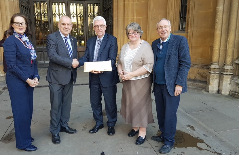 Cllr Graham Newman hands over a petition of nearly 7000 signatures in support of Hamilton Road's Marks & Spencer